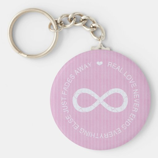Infinity Love Pink Stripe Key Chains