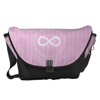 Infinity Love pink stripe Courier Bag