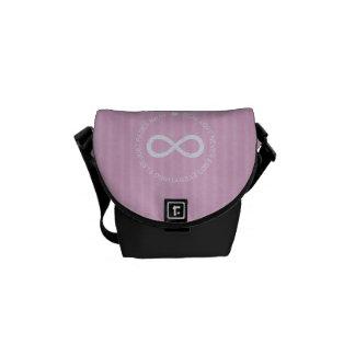 Infinity Love pink stripe mini messenger bag