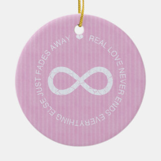 Infinity Love Pink Stripe Double-Sided Ceramic Round Christmas Ornament