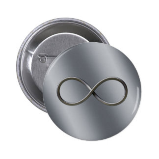 Infinity Nerd Symbol   Looking Silver Math Gift Button