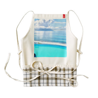 Infinity pool and ocean zazzle HEART apron