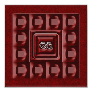 Infinity Red Square Invitations