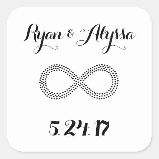 Infinity Symbol Custom Wedding Invitation Square Sticker