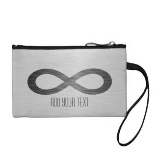 Infinity Symbol On Brushed Metal Texture Coin Purses