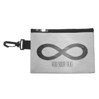 Infinity Symbol On Brushed Metal Texture Accessory Bag