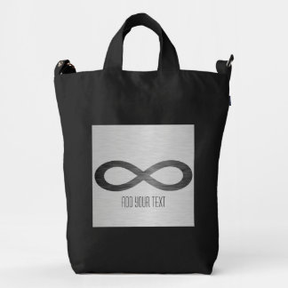 Infinity Symbol On Brushed Metal Texture Duck Canvas Bag