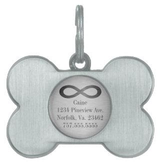 Infinity Symbol On Brushed Metal Texture Pet Tag