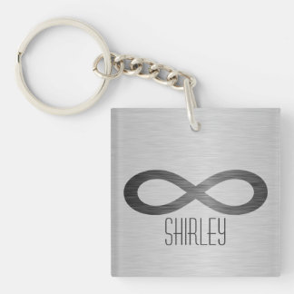 Infinity Symbol On Faux Metal Texture by STaylor Keychain