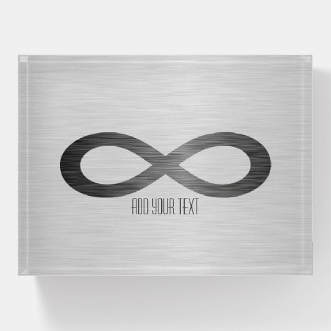 Infinity Symbol on Faux Metal Texture by STaylor Paperweight