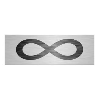 Infinity Symbol On Faux Metal Texture by STaylor Photo Print