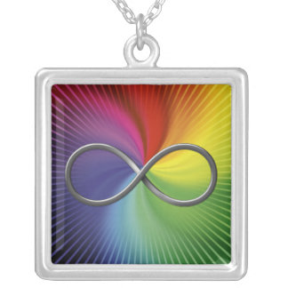 Infinity Symbol on rainbow spiral Square Pendant Necklace