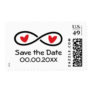 Infinity symbol red hearts wedding Save the Date Postage
