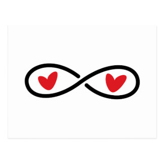 Infinity symbol red hearts wedding Save the Date Post Cards