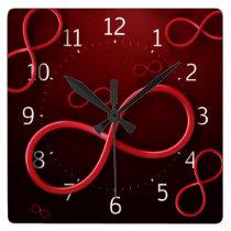 Infinity Symbol Red Wall Clock