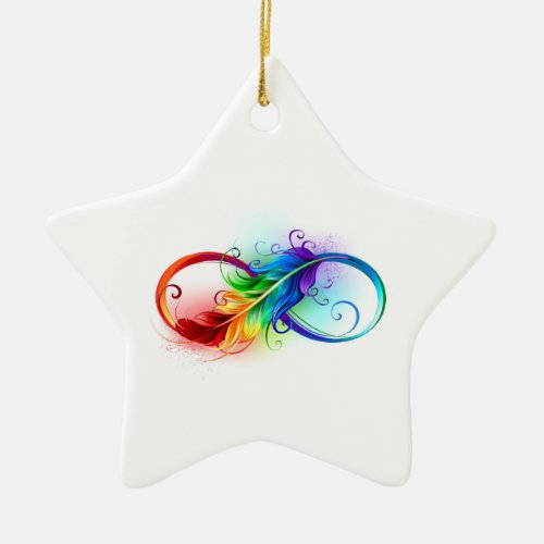 Infinity Symbol with Rainbow Feather Ceramic Ornament