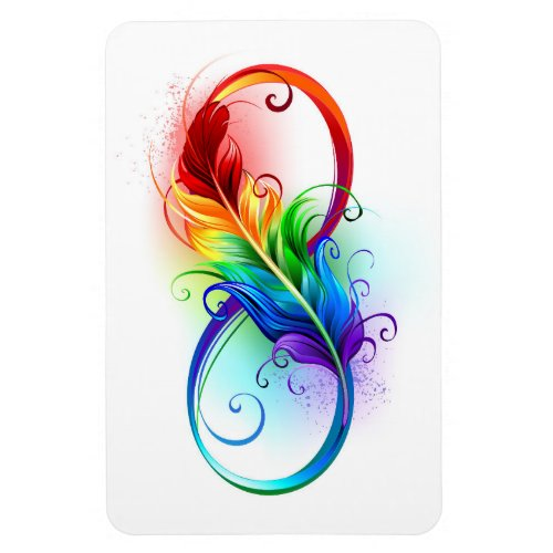 Infinity Symbol with Rainbow Feather Magnet