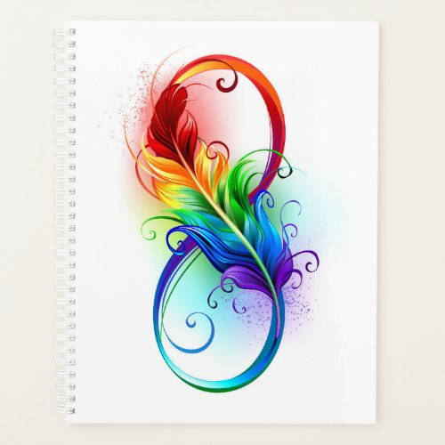 Infinity Symbol with Rainbow Feather Planner