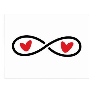 Infinity symbol with red love hearts modern postcard