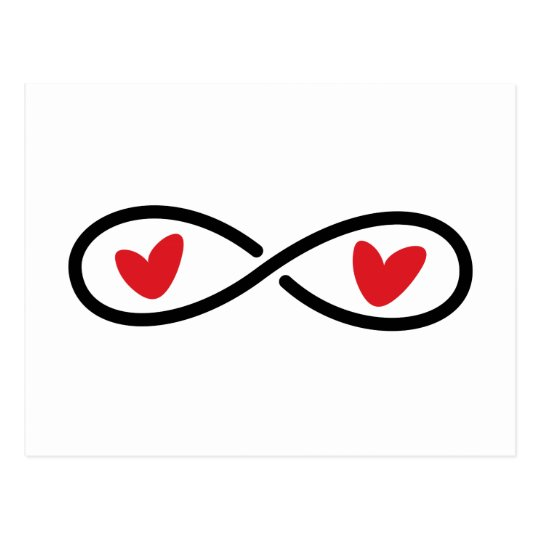 Infinity Symbol With Red Love Hearts Modern Postcard Zazzle