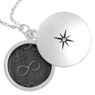 Infinity Symbols on striped background Locket Necklace