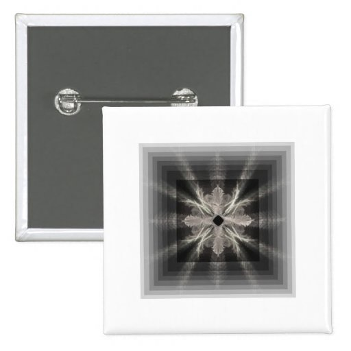 Infinity White on Black Fractal Art Design 2 Inch Square Button