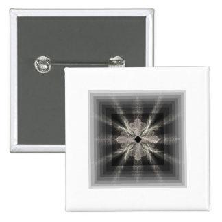 Infinity White on Black Fractal Art Design Pins