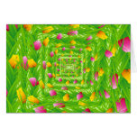 Infinity Wreath Yellow & Pink Tulips Greeting Card