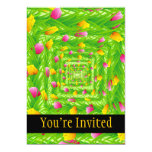 Infinity Wreath Yellow & Pink Tulips 5x7 Paper Invitation Card