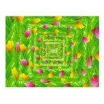 Infinity Wreath Yellow & Pink Tulips Postcard