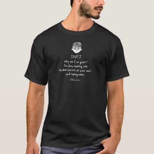 INFJ Taking Notes Mens Black T Design on Front T_Shirt