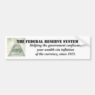 Inflación del sistema de Federal Reserve de la mon Pegatina De Parachoque