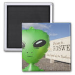 Inflatable alien with Welcome to Roswell sign in 2 Inch Square Magnet