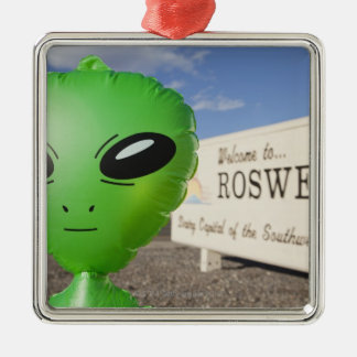 Inflatable alien with Welcome to Roswell sign in Metal Ornament