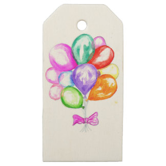 Inflatable Colorful Balloons Wooden Gift Tags