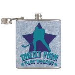 Inflict Pain, Play Hockey Hip Flask, Ice Backgroun