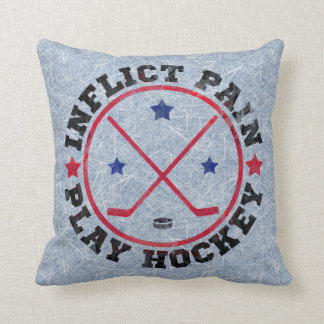 Inflict Pain Play Hockey Throw Pillow