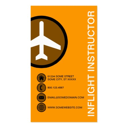 Trendy Orange Instructional Flights CFI Flight Instructor Business Cards