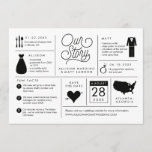 "Infographic Save the Date Engagement Announcement<br><div class=""desc"">This infographic save the date features fun facts about the engaged couple so they can share their story with wedding guests. The back has a full bleed photo of the soon to be bride and groom.</div>"