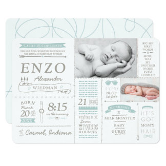 Infographic Stats Birth Announcement Cards