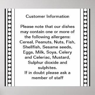 Información de la alergia del cliente poster