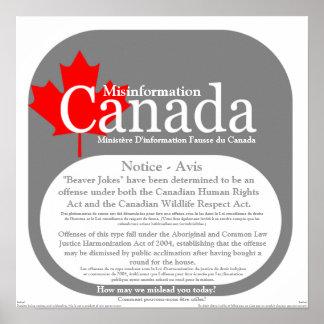 Información falsa Canadá - el castor bromea aviso Póster