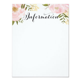 Información floral del boda del rosa moderno del