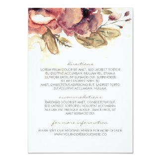 """Información floral del boda del vintage de la invitación 4.5"""" x 6.25"""""""