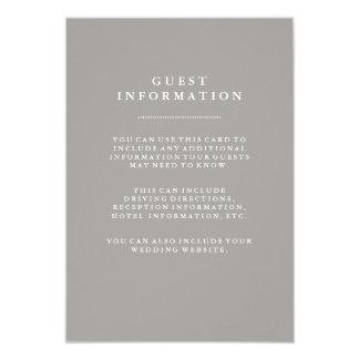 """Información gris profunda elegante de la huésped invitación 3.5"""" x 5"""""""