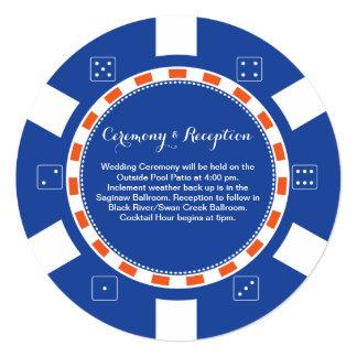 Información que se casa de la ficha de póker el | invitación 13,3 cm x 13,3cm