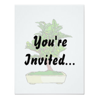 Informal Upright Bonsai Graphic 2 Leaves Card
