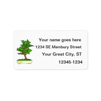 Informal Upright Bonsai Graphic 2 Leaves Label
