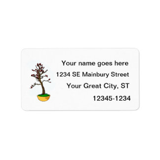 Informal Upright, cherry type bonsai graphic Label