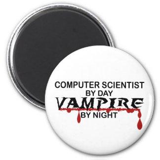 Informático por día, vampiro por noche imán redondo 5 cm